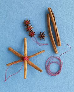 Christmas ornaments made with cinnamon sticks and star anise.  Cute and smell lovely.