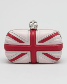 Alexander McQueen Leather Britannia Box Clutch Bag, Ice Pink in The Christmas Book from Neiman Marcus