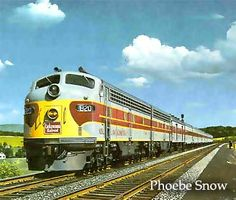 "Delaware, Lackawanna and Western R.R.  ""Phoebe Snow""  passenger train 1949-60. Erie Lackawanna 1963-66."
