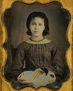 Sara Emily Mason and her bunny in 1856. She seems a tender hearted girl. I hope she had a wonderful life. (Isn't it strange how my feeling about a daguerreotype changes when I know the person's name.)