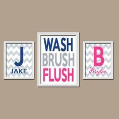 Brother Sister Child Name Monogram Initial Bath Navy Blue Hot Pink WASH  Brush Flush Chevron Set Part 10