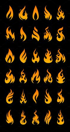 --- Vector Fire Icons is the set of 30 unique fire shapes to let you light up your design. All shapes are vector and fully editable in Adobe Illustrator. Web Design, Logo Design, Graphic Design, Drawing Sketches, Art Drawings, Fire Drawing, Fire Vector, Flame Tattoos, Flame Art