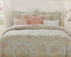 Amazon.com - Domain King Duvet Cover and Shams Set, Beige Turquoise Sorbet Orange Paisley Moroccan Medallion Print -