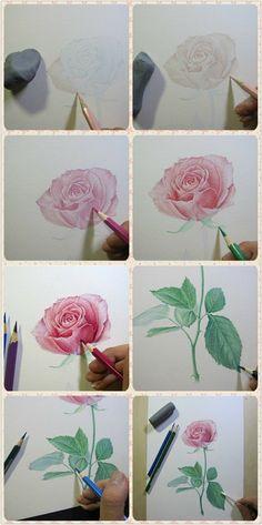 como dibujar una rosa?