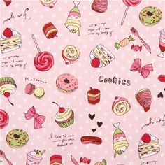 dotted rosa Kokka dessert sweets fabric from Japan 1