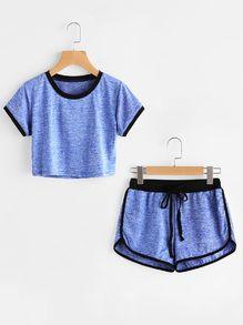 Ringer Slub Tee With Drawstring Waist Shorts