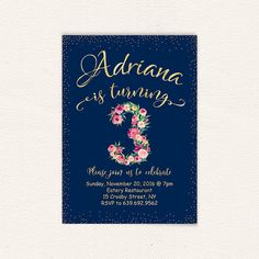 Watercolor floral navy blue gold girl birthday 3rd