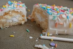 Insert pop sticks into frozen Twinkies. Melt white candy melts. Smother over Twinkies (place the Twinkies on a grid so the excess flows off). Cover with sprinkles. Refrigerate or allow to set. #WiltonContest