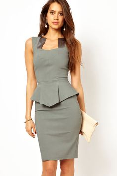 Work Square Tank Sleeveless Waist Knee Length Polyester Dress_Dresses_Womens Clothing_Cheap Clothes,Cheap Shoes Online,Wholesale Shoes,Clothing On lovelywholesale.com - LovelyWholesale.com