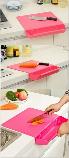 2-in-1 Creative Cutting Board with Detachable Storage Box. #kitchen_gadgets