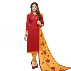 Red Casual Printed Salwar Suit