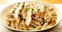 sliced grilled chicken and creamy herbed sauce over penne pasta Good Foods To Eat, Healthy Foods To Eat, Healthy Recipes, Pasta Penne, Pasta Cremosa, Chicken Caesar Pasta Salad, Homemade Pasta, Grilled Chicken, Gastronomia