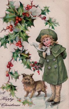 Antique Christmas Postcard Little Girl and Dog Embossed Posted Divided Vintage Holiday Postcards, Vintage Christmas Images, Old Christmas, Old Fashioned Christmas, Victorian Christmas, Vintage Greeting Cards, Retro Christmas, Christmas Pictures, Christmas Greetings
