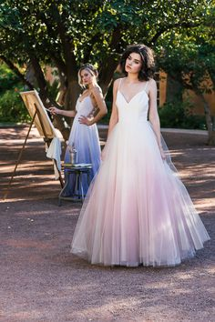 Cleo and Clementine - Ombre Dip Dyed Tulle Ballgown Wedding Dress - Sunset
