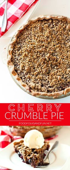 This Cherry Crumble Pie features summer's juiciest cherries covered in a crumble topping of oats, brown sugar and cinnamon. | Summer Dessert | Summer Recipe | Cherry Pie Cherry Crumble