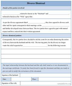 Printable Sample Divorce Template Form