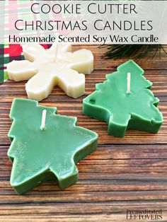 Follow the easy tutorial for these Scented Cookie Cutter Christmas Candles. These homemade soy candles make perfect gifts for friends and family! DIY holiday crafts idea.