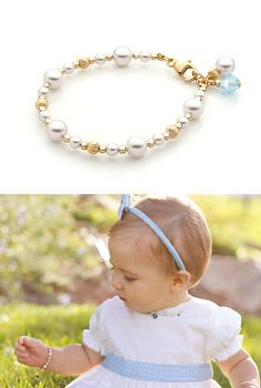 Dainty Pearls 14k Gold Bracelet. Adorable little 14k gold and real AAA-grade pearl bracelet for baby, toddler, child, tween, or teen. Available in over 10 different sizes to fit her perfectly.