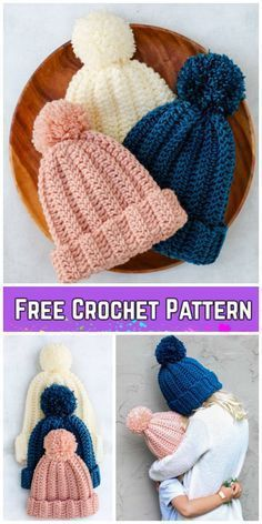 Beginner Easy 1-Hour Crochet Beanie Hat Free Crochet Pattern - All Sizes Crochet Beanie Hat Free Pattern, Beginner Crochet Hat, Easy Crochet Baby Hat, Crocheted Hats, Kids Crochet Hats Free Pattern, Hat Crochet, Beginner Knitting Patterns, Crochet Kids Hats, Crotchet