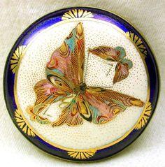 "Antique Meiji Satsuma Button Extra Detailed Butterfly Cobalt Border 1 & 7/8"""
