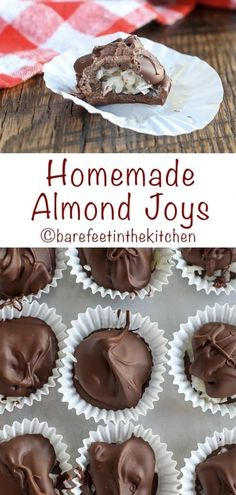 Homemade Almond Joys are super easy to make and they're fun to eat too! get the recipe at barefeetinthekitchen.com