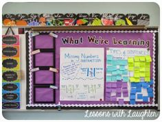 Lessons with Laughter: Classroom Tour - What We're Learning board - love this. Place to display anchor charts and CCS currently working on 4th Grade Classroom, Classroom Bulletin Boards, Classroom Setting, Classroom Setup, Classroom Design, Classroom Displays, Future Classroom, Classroom Projects, Classroom Organisation
