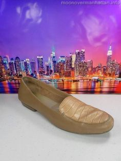 St Johns Bay tan leather Croc Slip On Flat Moccasin Loafers Womens Shoes 7.5 M #StJohnsBay #LoafersMoccasins