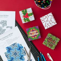 DIY Christmas paper gift boxes – 6 printable coloring templates to make your own gift boxes for a Christmas gift | Find more Christmas printable activities and coloring pages at www.sarahrenaeclark.com/christmas