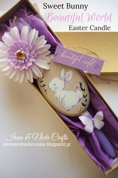 New Design Easter Candle 2019 Handpainted Plaque and Handmade Flower and Butterfly Easter Candle, Purple Candles, Greek Easter, Lilac Flowers, Fairy Princesses, Handmade Candles, Handmade Flowers, Easter Crafts, Irene