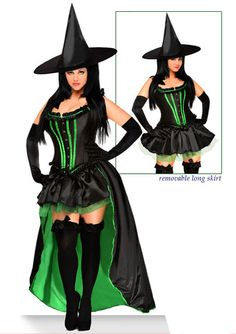 5 Pc Green Wicked Witch Costume Costumes For Women Makeup Stuff