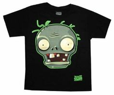 Vs Zombies, Zombie Head Popcap Video Game Youth T-Shirt Tee Zombie Head, Zombie Face, P Vs Z, Kids Sand, T Shirts, Tees, Vintage Video Games, Zombie Party, Plants Vs Zombies