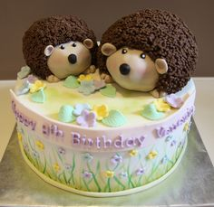 Hedgehog Cake chocolate cake with choc buttercream and ganache. Hedgehogs make of RKT with gp spikes indivually stuck on. Hedgehog Cookies, Hedgehog Cake, Hedgehog Birthday, Animal Birthday Cakes, 21st Birthday Cakes, Fondant Cakes, Cupcake Cakes, Cupcakes, Girly Cakes
