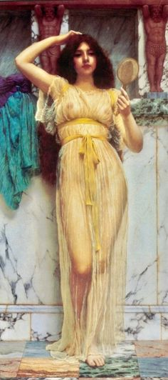 John William Godward - The MirrorYou can find John william waterhouse and more on our website.John William Godward - The Mirror John William Godward, John William Waterhouse, Art And Illustration, Illustrations, Lawrence Alma Tadema, Rome Antique, Classical Art, Sheer Fabrics, Erotic Art