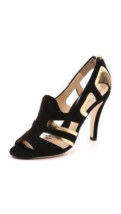 Moschino Leather Peep Toe Sandals