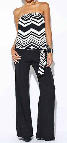 Time to get to Miami with this jumpsuit in tow!  Black/White Zig-Zag Chevron Stripe Tube/Solid Pants Romper/Jumper/Cat Suit