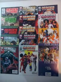 NEAR COMPLETE SERIES – HEROES FOR HIRE - 14 COMICS – #1-15 CIVIL WAR, SPIDER-MAN, MR. FANTASTIC,