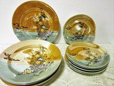Peach Luster Plates set of 12 Floral Design Dessert Salad Bread Dishes Mid…
