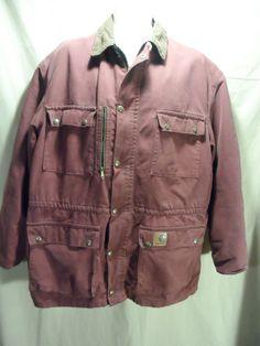 Carhartt USA Men's Work Jacket Hip Coat Flannel Lined Maroon Zip/Snap Up-LARGE