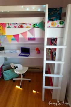 Find out how to build a loft bed with desk. You'll love the price, function, and space-saving this twin DIY loft bed offers! Bunk Beds Small Room, Wooden Bunk Beds, Bunk Bed With Desk, Bunk Beds With Stairs, Kids Bunk Beds, Small Rooms, Loft Beds, Small Spaces, Build A Loft Bed