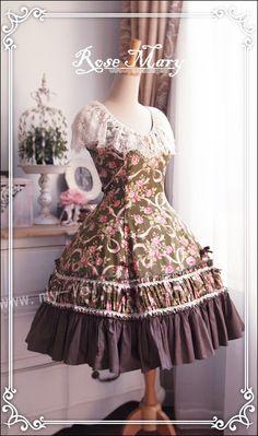 9a9c434b595 Elegant Classic Vintage Green Lolita OP Jumper Dress Dolly Fashion