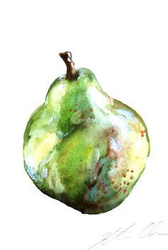 "Watercolor Painting, Still Life Painting, Original, Green Pear, 8""x8"""