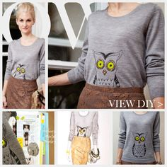 Owl Sweater DIY Feature- Very cute. I think I'd do it without the glue on beads though.