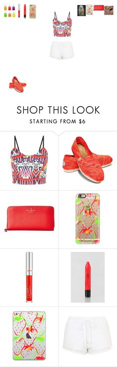 """""""Neon"""" by hungergameslover7 ❤ liked on Polyvore featuring TOMS, Kate Spade, Casetify, TONYMOLY and Topshop"""