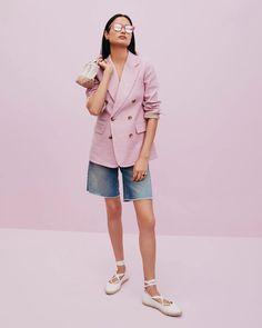 J.Crew: Clothes, Shoes & Accessories For Women, Men & Kids J Crew Looks, Lace Up Espadrilles Flats, Summer Lookbook, Short Outfits, Cashmere Sweaters, Denim Shorts, Menswear, Blazer, How To Wear