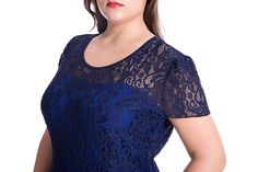 Chicwe Women's Lined Stretch Floral Lace Plus Size Sheath Dress with Unequal Hem Navy Blue 3X