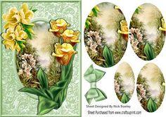 Gele narcissen, met een mooie tuin Oval Pyramids - CraftsuPrint