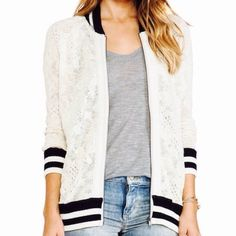 Free people varsity zip knit navy lace jacket med Super cute free people varsity zip knit. Size med. sold out in stores. Free People Sweaters Cardigans