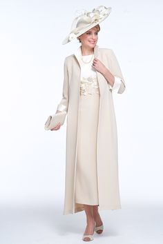 Cream Tea Length Mother Of the Bride Dress With Long Jacket Party Evening Dress … – Winter Dresses Bloğ Mother Of The Bride Jackets, Mother Of The Bride Plus Size, Mother Of The Bride Dresses Long, Mother Of Bride Outfits, Mothers Dresses, Mother Bride, Plus Size Gowns, Evening Dresses Plus Size, Long Jackets
