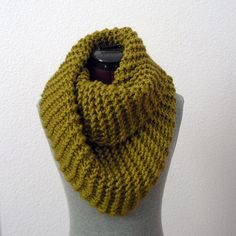 Thick, chunky garter stitch infinity scarf in Lion Brand yarn. $65 on Etsy (or probably $20 DIY).