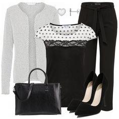 Schöner Businesslook aus Strickjacke, schwarzem Shirt und schwarzer Hose mit Bundschnürung... #fashion #fashionista #mode #damenmode #frauenmode #damenkleidung #frauenkleidung #kleidung #trend #trend2018 #frühling #modetrend